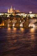 Vltava River Boat Prints - Prague Castle and Charles Bridge Print by Andre Goncalves