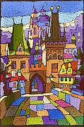 Cityscape Pastels Metal Prints - Prague Charles Bridge 01 Metal Print by Yuriy  Shevchuk