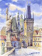 Watercolour Prints - Prague Charles Bridge Print by Yuriy  Shevchuk