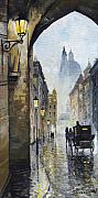 Rainy Street Framed Prints - Prague Old Street 01 Framed Print by Yuriy  Shevchuk