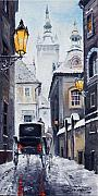 Snow Painting Prints - Prague Old Street 02 Print by Yuriy  Shevchuk