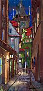 Buildings Drawings Metal Prints - Prague Old Street  Metal Print by Yuriy  Shevchuk