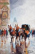 Prague Painting Metal Prints - Prague Old Town Square Metal Print by Yuriy  Shevchuk