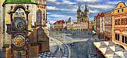 Landscape Drawings Metal Prints - Prague Old Town Squere Metal Print by Yuriy  Shevchuk