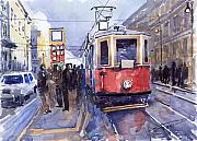 Watercolour Painting Metal Prints - Prague Old Tram 03 Metal Print by Yuriy  Shevchuk