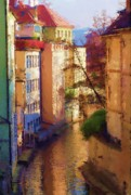 Prague Czech Republic Digital Art Prints - Praha Canal Print by Shawn Wallwork