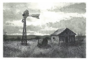Shack Drawings Prints - Prairie Farm Print by Jonathan Baldock