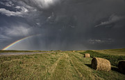 Rural Scenes Digital Art - Prairie Road Storm Clouds by Mark Duffy