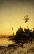 Sundown Paintings - Praying to Mecca by Herman David Salomon Corrodi