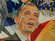 Barack Obama Painting Posters - President Barack Obama Poster by Alex Krasky