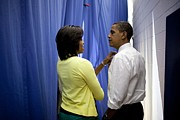 Michelle Photo Posters - President Barack Obama And First Lady Poster by Everett