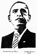 President Obama Drawings Framed Prints - President Barack Obama Framed Print by Ashok Naraian