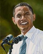 Politicians Painting Framed Prints - President Barack Obama Framed Print by Christopher Oakley
