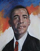 Barack Obama Drawings Prints - President Barack Obama Print by Synnove Pettersen