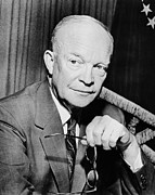 Us Presidents Framed Prints - President Dwight Eisenhower  Framed Print by War Is Hell Store