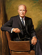 Presidential Portrait Framed Prints - President Eisenhower Framed Print by War Is Hell Store