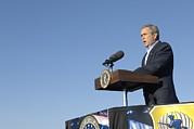 Speaking Metal Prints - President George W. Bush Speaking Metal Print by Everett