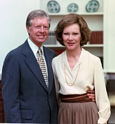 Carter House Photos - President Jimmy Carter And Rosalynn by Everett