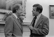 Carter House Prints - President Jimmy Carter With Senator Print by Everett