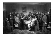 Emancipation Proclamation Drawings Prints - President Lincolns Deathbed Print by War Is Hell Store