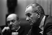Cabinet Room Prints - President Lyndon Johnson And Secretary Print by Everett
