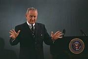 President Lyndon Johnson Speaks Print by Everett