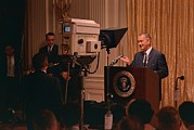 Escalation Prints - President Lyndon Johnson Televised Print by Everett