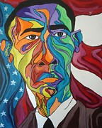 Fleurant Paintings - President Obama by Jason JaFleu Fleurant