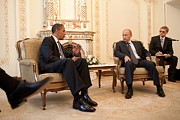 Body Language Posters - President Obama Meets With Russian Poster by Everett