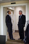 Former Presidents Framed Prints - President Obama Talks With Former Framed Print by Everett