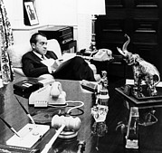 Office Desk Framed Prints - President Richard Nixon In His Office Framed Print by Everett
