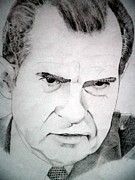 Senate Drawings Posters - President Richard Nixon Poster by Robert Lance