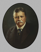 Presidents Paintings - President Theodore Roosevelt  by War Is Hell Store
