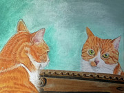 Orange Cat Pastels Posters - Pretty Kitty Poster by Teresa Vecere
