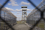 Watch Tower Prints - Prison Fence Watch Tower And Barbed Print by Roberto Westbrook