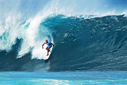 Sports Prints - Pro Surfer Kelly Slater Surfing in the Pipeline Masters Contest Print by Paul Topp