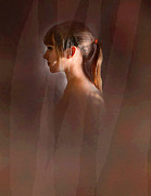 Curtains Digital Art Posters - Profile In Red Poster by Robert Foster