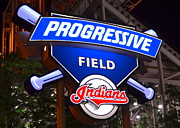 Baseball Glove Posters - Progressive Field Poster by Robert Harmon