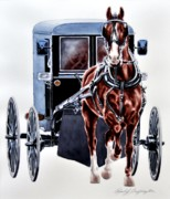 Amish Buggy Paintings - Proud Gait by Chad Buffington