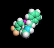 Prozac Antidepressant Drug Molecule Print by Dr Tim Evans