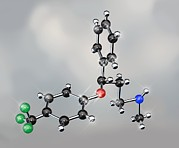 Prozac Antidepressant Molecule Print by Miriam Maslo