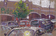 Drawing Pastels Originals - Publix Parking by Donald Maier