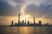 Hotels And Resorts Framed Prints - Pudong Skyline, Seen Framed Print by Justin Guariglia