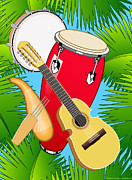 Puerto Rico Digital Art Prints - Puerto Rican Folk Music Print by Erasmo Hernandez