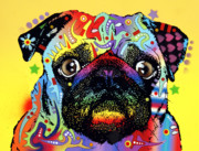 Dean Russo Art Mixed Media Posters - Pug Poster by Dean Russo