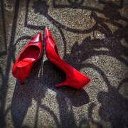 Red Shoe Prints - Pumps Print by Joana Kruse