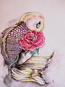Koi Fish Drawings - Purple Beauty  by Victoria Dietz