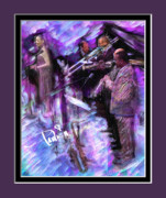 Trombone Digital Art Acrylic Prints - Purple Jazz Acrylic Print by Donald Pavlica