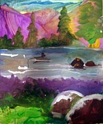 Arkansas Paintings - Purple Mountains by Catherine Wellenberger