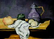 Food And Beverage Paintings - Purple Pitcher by Diane Kraudelt